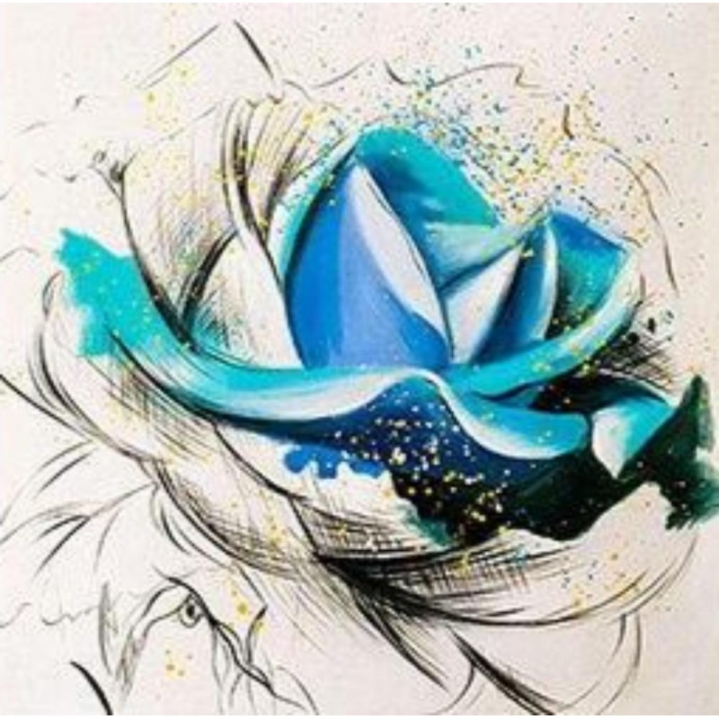 Blue flower with bla...
