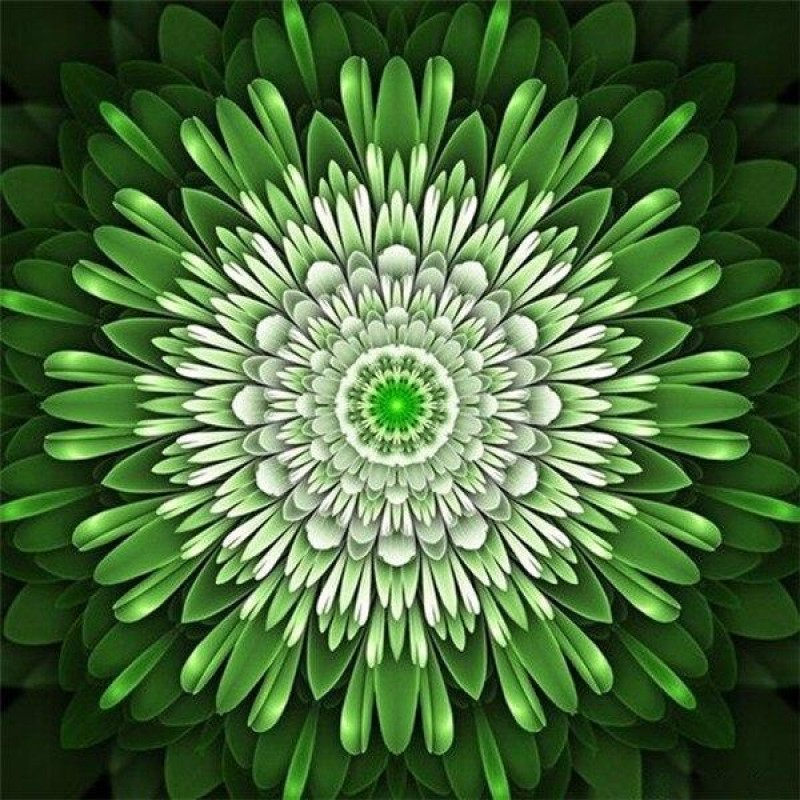 Green flower mandala
