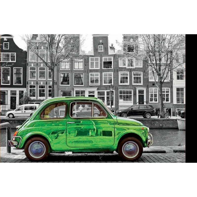 Green car with black...