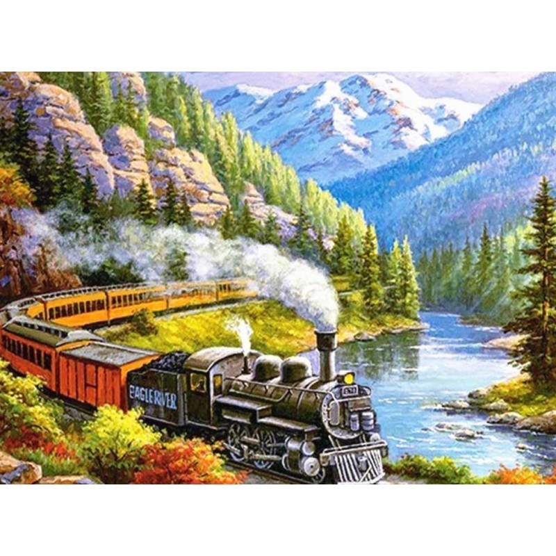 Train by the lake