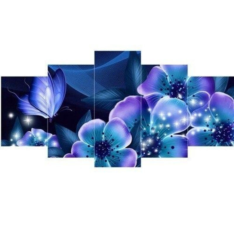 Blue, purple and whi...