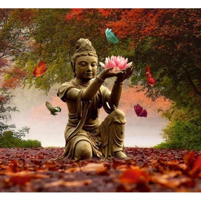 Buddha on red leaves